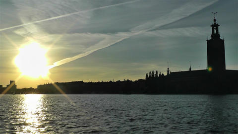 Stockholm Town Hall 2 sunset Stock Video Footage