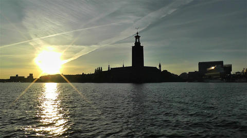 Stockholm Town Hall 3 sunset Footage