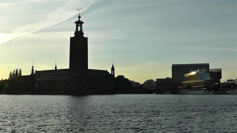 Stockholm Town Hall and Central Station 1 sunset Footage
