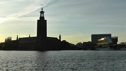 Stockholm Town Hall and Central Station 1 sunset Stock Video Footage