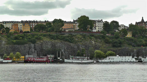 Stockholm view from Gamla Stan 1 Stock Video Footage