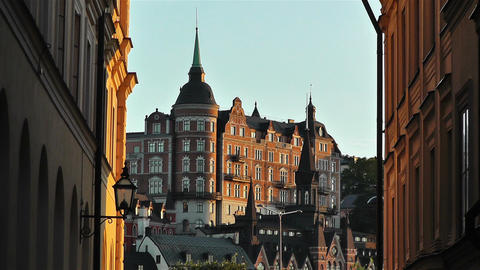 Stockholm view from Gamla Stan 10 Stock Video Footage