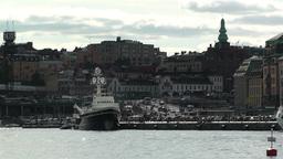 Stockholm view from Skeppsholmem 2 gamla stan Stock Video Footage