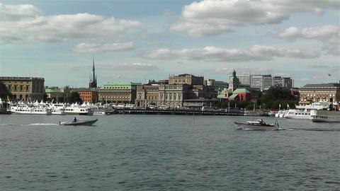 Stockholm view from Skeppsholmem 4 Stock Video Footage