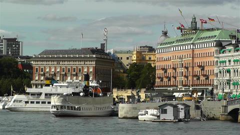 Stockholm view from Skeppsholmem 6 Stock Video Footage