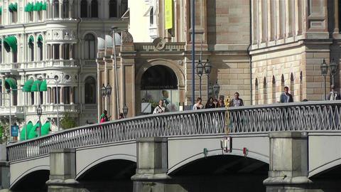 Stockholm view from Skeppsholmem 8 national museum Stock Video Footage