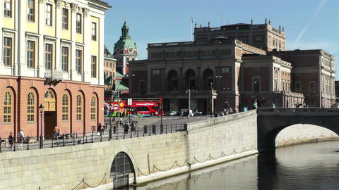 Stockholm view to Opera Building 2 Stock Video Footage