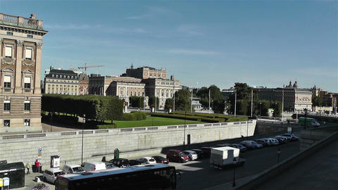 Swedish Opera view from Royal Palace Stockholm Footage