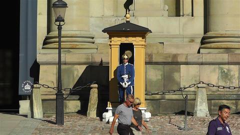 Swedish Royal Palace Stockholm 10 guard Stock Video Footage