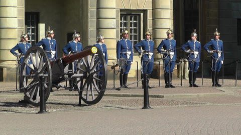 Swedish Royal Palace Stockholm 18 guard change Stock Video Footage