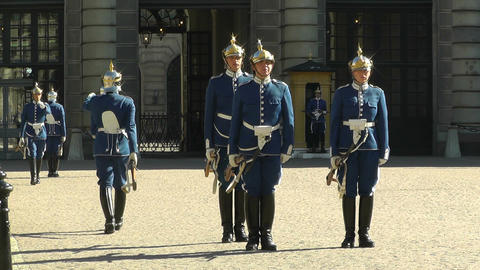 Swedish Royal Palace Stockholm 20 guard change Stock Video Footage