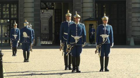 Swedish Royal Palace Stockholm 20 guard change Stock Video Footage