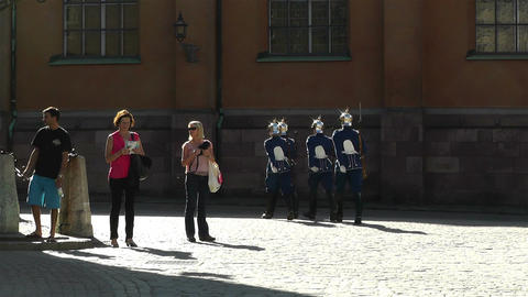 Swedish Royal Palace Stockholm 22 guards Stock Video Footage