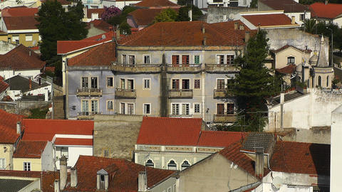 Town near Lisbon Portugal 24 aerial Stock Video Footage