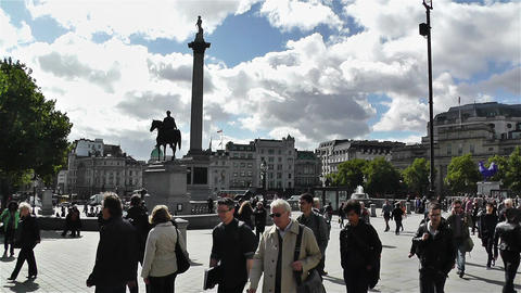 Trafalgar Square London 1 handheld Stock Video Footage