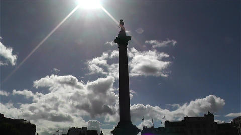 Trafalgar Square London 11 handheld zoom tilt Stock Video Footage