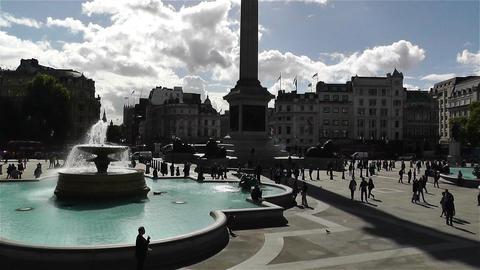Trafalgar Square London 11 handheld zoom tilt Stock Video Footage