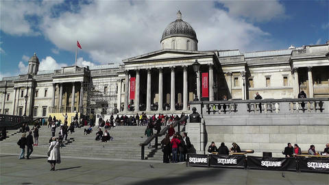 Trafalgar Square London 13 handheld Stock Video Footage