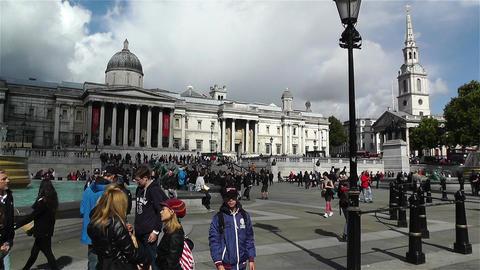 Trafalgar Square London 22 handheld Stock Video Footage