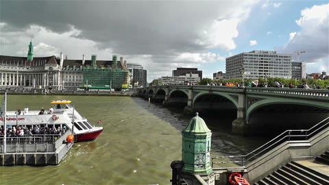 Westminster Bridge River Thames London 3 handheld Stock Video Footage