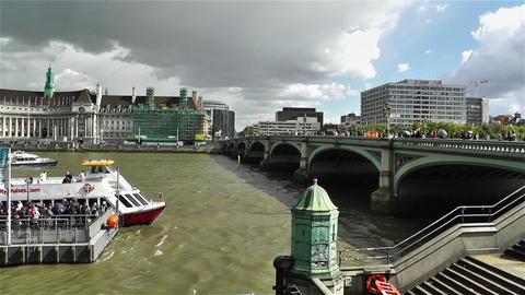 Westminster Bridge River Thames London 3 handheld Stock Video Footage