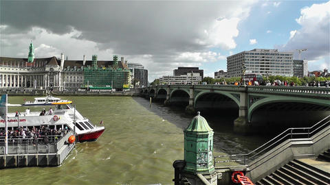Westminster Bridge River Thames London 3 handheld Footage