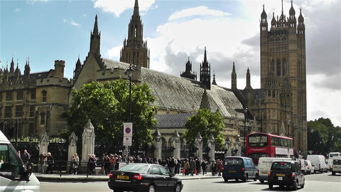 Westminster London British Parliament 7 handheld Stock Video Footage