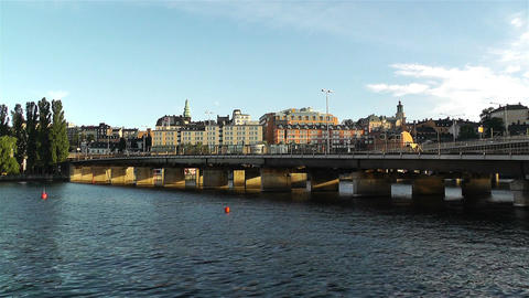 Stockholm view from Gamla Stan 7 Stock Video Footage