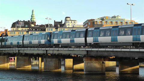 Stockholm view from Gamla Stan 9 train Stock Video Footage
