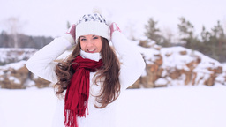 Winter Girl Stock Video Footage