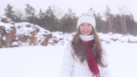 Winter Girl. Snowball! Footage