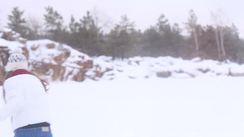 Winter Girl. Snowball! Stock Video Footage