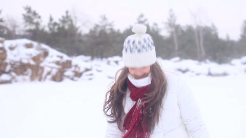 Winter Girl. Snowball! Stock Video Footage