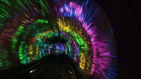 Bund sightseeing tunnel, slow shutter speed Footage