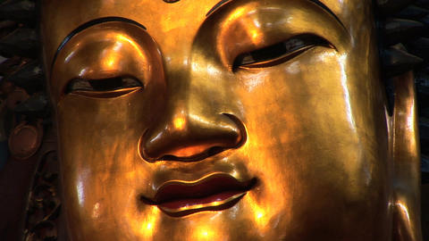 Golden Buddha Face stock footage