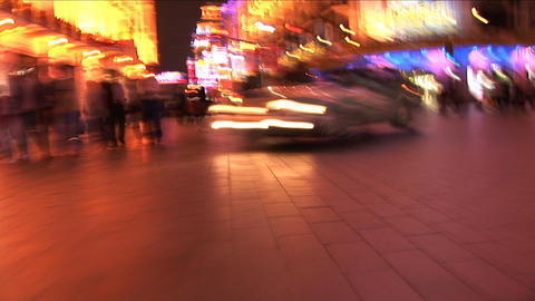 Nanjing Road at Night in Shanghai, China - Slow Motion Stock Video Footage