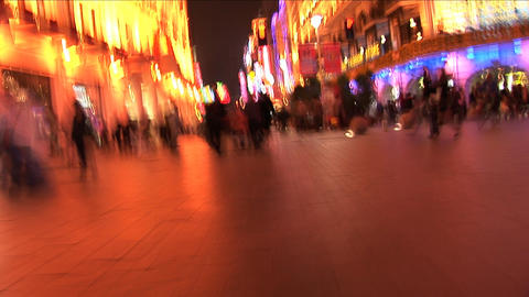 Nanjing Road at Night in Shanghai, China - Slow Motion Footage