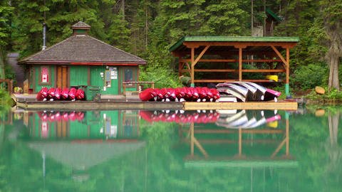 Emerald Lake Boat House Stock Video Footage