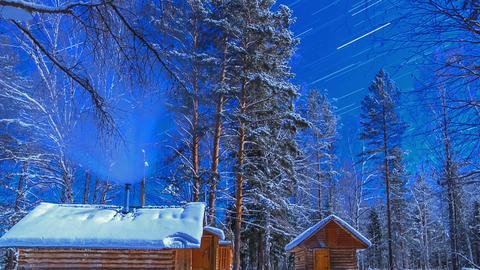 Moonlit Night on the cordon. Star tracks. Time Lap Stock Video Footage