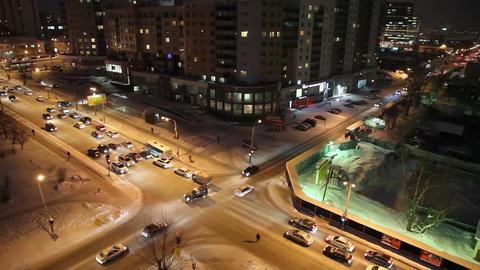 Night crossroads, Yekaterinburg, ul. Kuibyshev - s Stock Video Footage