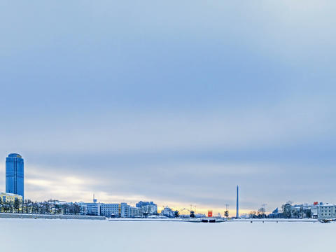 Embankment Yekaterinburg. Russia. Time Lapse. 4x3 Stock Video Footage