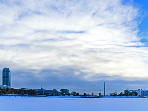 Embankment Yekaterinburg. Russia. Time Lapse. 4x3 Footage