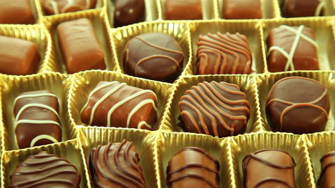 Pralines box, delicious chocolates Stock Video Footage