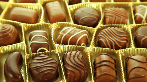 Chocolate box, sweet pralines background Stock Video Footage