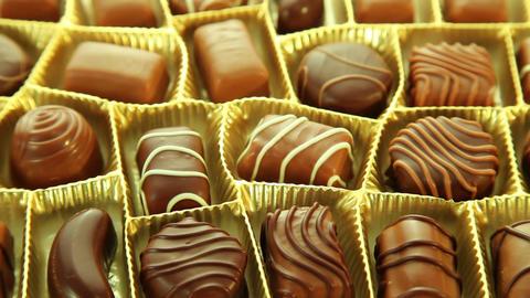 Chocolate box, sweet pralines background Stock Video Footage