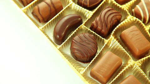 Chocolates box, sweet pralines Stock Video Footage