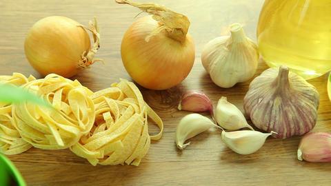 Fresh italian food ingredients on table Stock Video Footage