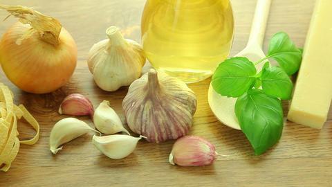 Fresh italian food ingredients on table Footage