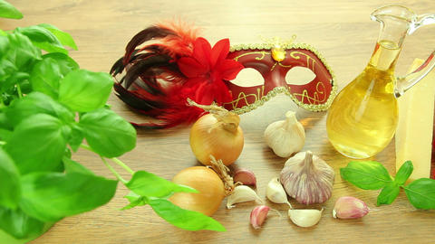 Italian food ingredients with Venetian mask Footage