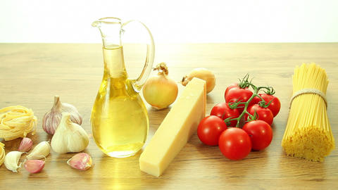 Fresh italian food ingredients on table Footage